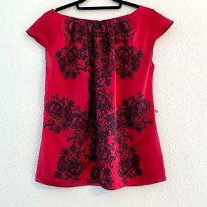 Worthington Red Black Lace Print Work Blouse